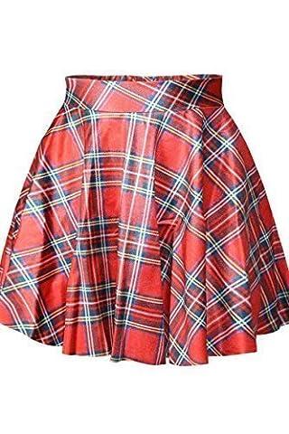 Cfanny Femmes À Carreaux Écolière Style Taille Haute Jupe - Rouge, Taille Unique