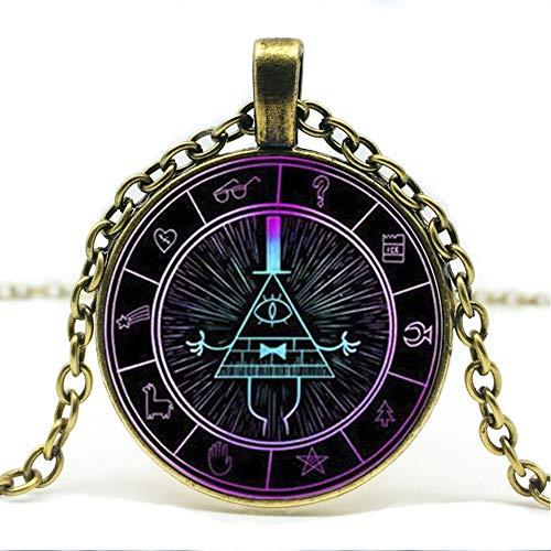 Herren Halskette Heißer Verkauf, Steampunk Drama Gravity Waterfall Mystery Bill Cipher Rad Muster Glas Anhänger Halskette Schmuck.