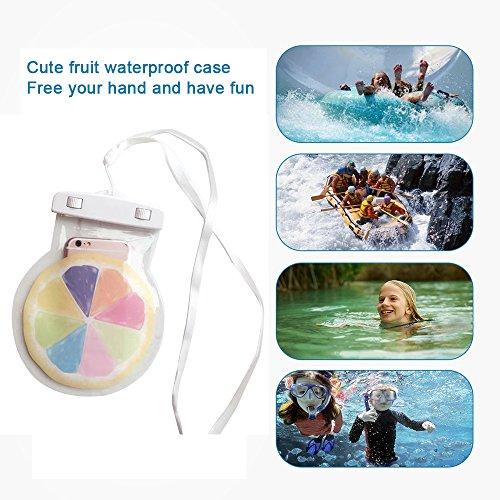 Aohro Universel Etui Housse Pochette étanche / Imperméable pour iPhone 6, 6 plus, 6s, 6s plus, SE, 5s, ;idéal pour natation, la plage, pêche, la randonnée - ananas jaune pamplemousse blanc