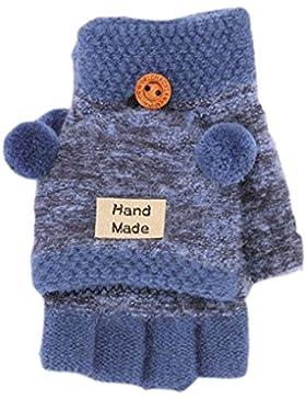 1/2 paia Bambini Guanti invernali caldi, guanti per bambini Cinque dita con coperchio invernale 6-12 anni studenti...