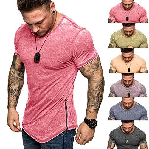 T-Shirt de Homme de Bodybuilding pour des Hommes Basic T-Shirt Col en V Sweatshirt Hoodie Hoody Mode Chic Fermeture Éclair Couleur Unie Gris M-XXXL