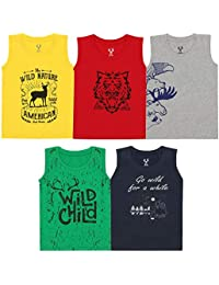 Elk Kids Boy's Round Neck Printed Sleeveless 100% Cotton Tshirts Pack of 5