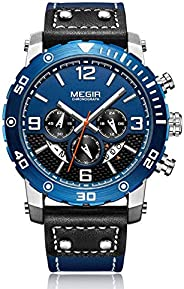 Megir Mens Quartz Watch, Chronograph Display and Leather Strap - 2084G