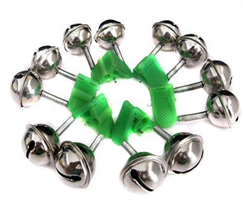 Fletion 20 Stücke Angelrute Alarm Clip Dual-Alarm Glocken geeignet für alle Arten von Seerod Grün