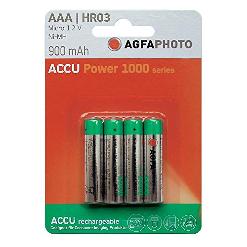 AgfaPhoto - Pile rechargeable NiMH - Format AAA - 900 mAh - Lot de 4 (Import Allemagne)