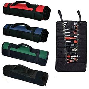 Bolsa de herramientas con 38 bolsillos, bolsa de herramientas plegable, multiusos, portátil, de lona resistente, para electricistas, jardín, herramientas, verde