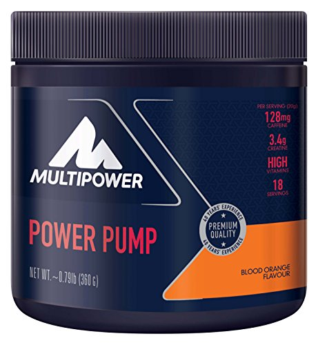 Multipower Power Pump Blood Orange – 360 g Fitness Booster Pulver – Pre Workout Booster mit 6in1 Formel – Clean Booster zum Training enthält Koffein, Kreatin & Vitamin C – Blutorangengeschmack