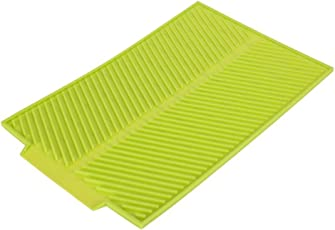 Silicone Drain Mat Rectangle Drying Dishes Pad Heat Resistant Slip-Proof Tray(15.35 * 9.84in-Green)