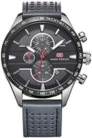 ميني فوكس ساعة كاجوال للرجال ، انالوج بعقارب ، حزام جلد ، رمادي ، MF0002G-04