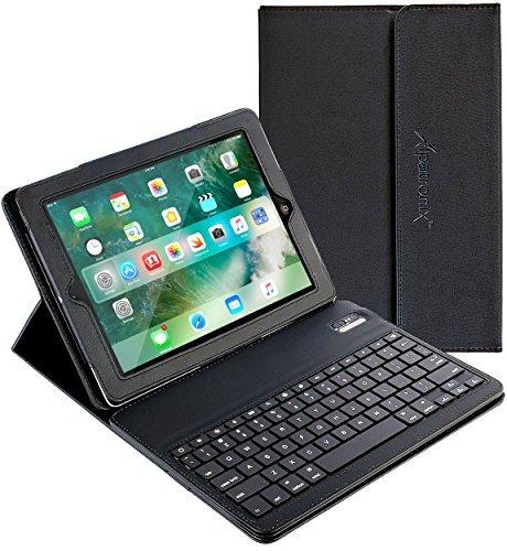 iPad Mini Keyboard + Leather Case, Alpatronix [KX101] iPad Mini Bluetooth Keyboard Smart Case for iPad Mini 4, 3, 2 & 1 w/ Removable Wireless Keyboard, Tablet Stand for all iPad mini models – (Black)