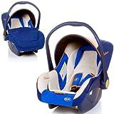 Babyschale DELUXE Autositz Babytrage + Fußsack & Sonnendach (BLAU / BEIGE / ORANGE)