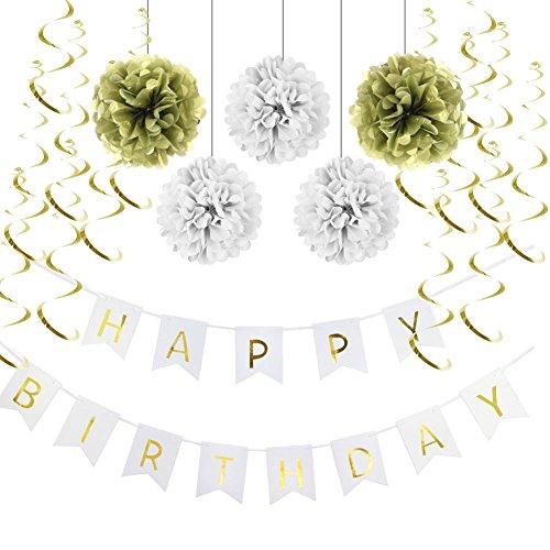 Decoration Anniversaire HAPPY BIRTHDAY Guirlandes Fanions Kit Pompons Guirlande à Spirales Suspension Décoratives (Or) 97172c27-191e-4422-a1f0-f7d009aad664