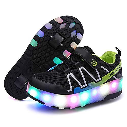 YXRPK Skateboard-Rollschuhe mit LED-Beleuchtung und doppeltem Rollen, USB-aufladbar, leise, glatt, kühles Flash, stilvoll, leicht zu Lernen, zu scrollen
