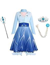 IBTOM CASTLE Kinder Mädchen Kostüm Prinzessin Rapunzel Lang Kleid Party Cosplay Verkleidung Festlich Karneval Festkleid Brautjungfer Maxikleid Geburtstagsfeier Fest-Kleid Gr.98-140