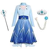 Ragazza Costume Carnevale Cosplay Vestito Bambine Set da Principessa Regina delle Nevi Travestimento Abito Cappotto con Accessori Compleanno Festa Halloween Natale Costumi Fantasia Blu 5-6 Anni