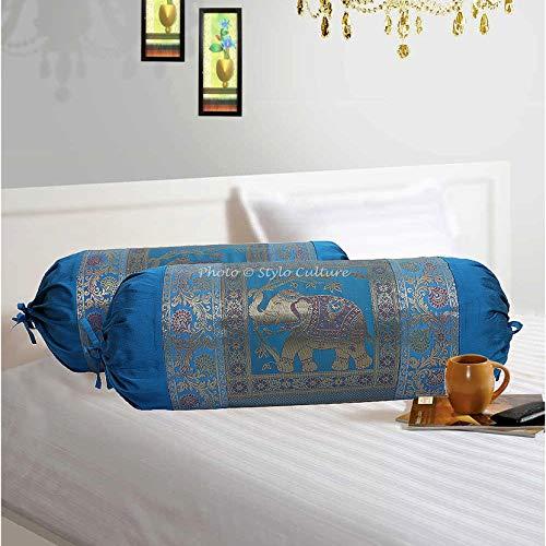 Stylo Culture Polidupion Tradicional Cilíndrica Fundas De Almohadas 70x40 Ronda Decorativa Fundas para Cojines Bolster Covers Azul Elefante Tejido De Brocado De Jacquard Largo For Settee (Set of 2)