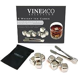 Juego de 8 cubos de hielo para whisky + bolsa de tela elegante | 8 cubos de acero inoxidable + pinza | Alternativa perfecta al hielo | Accesorios para restaurantes, bar, fiestas | Regalos para hombres