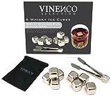 Juego de cubos de hielo para whisky de VINENCO – 8 Whisky Ice Cubes de acero inoxidable + bolsa de tela – Cubitos de hielo reutilizables enfrían las bebidas sin que se aguan - Garantía de devolución de dinero