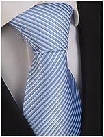 Seidenkrawatte mit schmalen Streifen in hellblau und weiß