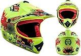 ARROW HELMETS AKC-49 Limited Yellow Moto-Cross-Helm Cross-Helm Kinder-Cross-Helm Helmet Sport Junior Kids Quad Pocket-Bike Enduro MX Motorrad-Helm Cross-Bike Kinder-Helm, DOT zertifiziert, inkl. Stofftragetasche, Gelb (Limited Yellow), L (57-58cm)