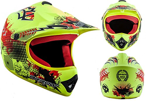 ARROW AKC-49 Limited Yellow Casco Moto-Cross MX Pocket-Bike Scooter Racing Motocicleta NINOS Junior Helmet Cross-Bike Off-Road Sport Kids Quad Enduro, DOT Certificado, Incluyendo Bolsa de Casco , Amarillo fosforescente, XL (59-60cm)