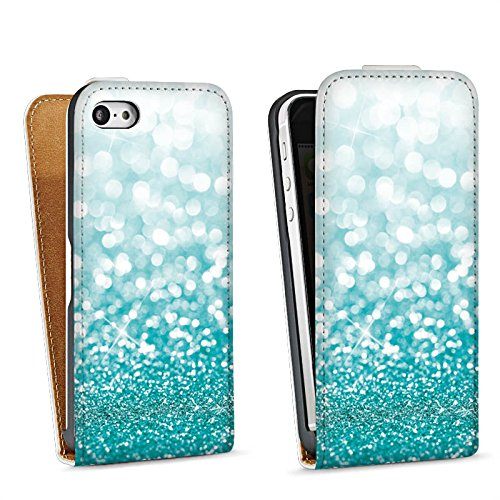 Apple iPhone 4 Housse Étui Silicone Coque Protection Paillettes Brillance Bling-bling Sac Downflip blanc