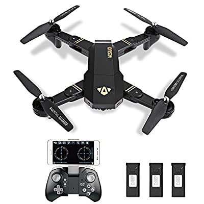 XS809W Foldable Camera Drone WIFI FPV Quadrocopter Live Transmission APP controllable Hover gesture control 12 minutes flight time great dimensions for experienced, 3 batteries