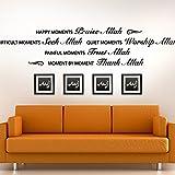 Wandora® W1350 Wandtattoo Spruch Happy Moments Allah mittelgrau (BxH) 90 x 19 cm