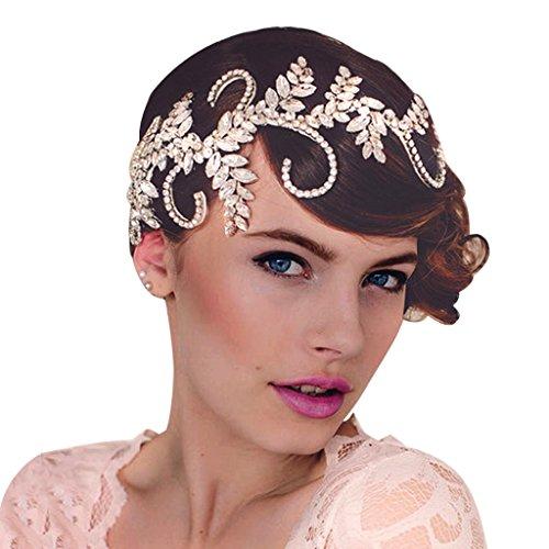 Edith Qi Retro Art Deco 1920er Rhinestone Flapper Stirnband für Strand Hochzeit Tiara Party Princess Genickstück Freesize Style 1#