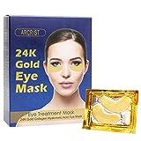 Eye Masks, Eye Mask Patch Yeux, 24K Or Poudre Gel Collagène Masque pour les yeux Doré œil Mask, Collagène Et Acide Hyaluronique Anti-Âge Anti-Rides Masque Yeux, Patch acide hyaluronique (15 paires)