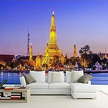 Chlwx 300cmX200cm (118.1inX78.123in) 3D Fototapete Thai Palace Jinta Tv Background Home Dekoration Wohnzimmer Schlafzimmer 3D Wandbilder Tapeten Kunst