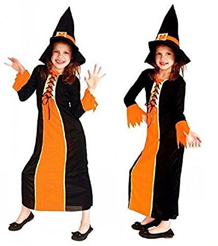 Größe M - 4-5 Jahre - Kostüm - Verkleidung - Karneval - Halloween - Hexe - Megera - Maga - Farbe - Orange - Kleines Mädchen