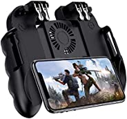 Holahoney Gaming Grip with Portable Charger Cooling Fan [2 Finger Sleeve],for PUBG Mobile Controller L1R1 Mobi