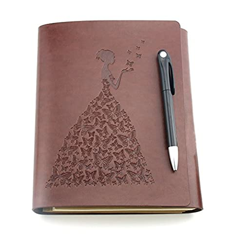 Notebook and pen, YAOHU PU Leather Diary Notebook Vintage Refillable Notepad Journal Personal Organiser Travel Sketchbook Spiral Bound/Ring Binder, With 100 Sheets Blank Page and Butterfly Pendant for Writing and Drawing Ideal Gift for Men Women Teachers Family,