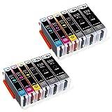 LxTek 12 Druckerpatronen Kompatibel für Canon 550XL 551XL PGI-550 XL CLI-551 XL für Canon PIXMA MX725 MX920 MX925 IX6850 IP7200 IP7250 MG5400 MG5450 MG5550 MG5650 MG6450 MG6650