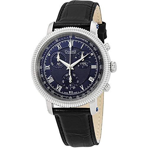 Charmex Men's President II 42mm Black Leather Band Quartz Blue Dial Watch 2992