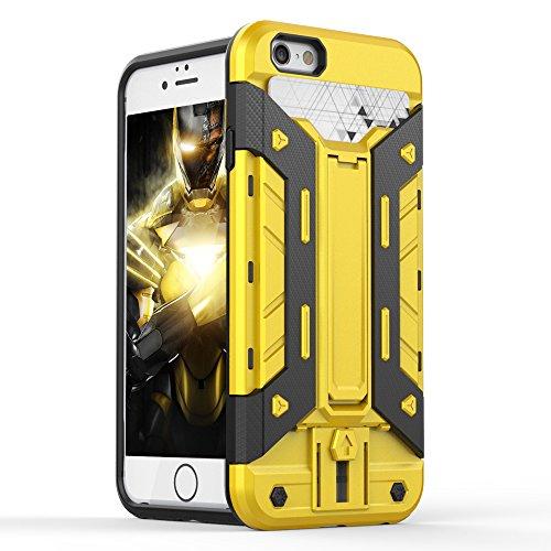 FOGEEK Schutzhülle iPhone 6 Hülle : [Transformer ] Hybrid Armor Defender Case Stoßfest Schutz Tasche Schutzhülle für iPhone 6/6s mit Kartenfach und Ständer-red + balck - yellow + black