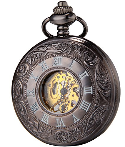 SEWOR Vintage Hollow Carved Flowers Mechanical Hand Wind Pocket Watch + Band Leather Box (Black Gold)