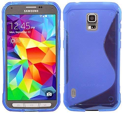 cofi1453 kompatibel mit S-Line TPU SchutzHülle Silikon Hülle Samsung Galaxy S5 Active G870A Silikonschale Cover Zubehör Bumper in Blau (Galaxy Für S5 Active Skin)