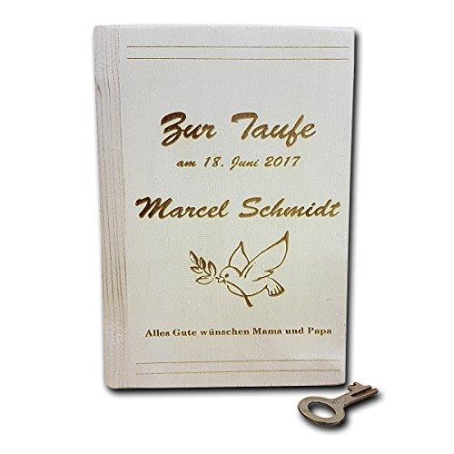 Holzspardose in Buchform mit personalisierter Gravur etc.: roh, ca. 11,5 x 16,5 x 5,5 cm mit Gravur Ihres Fotos, Motives oder / und Wunschtext. Schlüssel Und E-mail-aufhänger