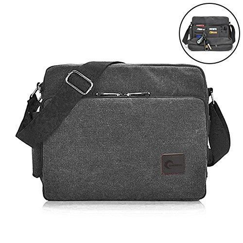 Messenger Bag, CHEREEKI Unisex Vintage Canvas Messenger Bags Casual Sling Shoulder Pack Daypack Satchel Bag for Work, School, Daily Use - 11.8