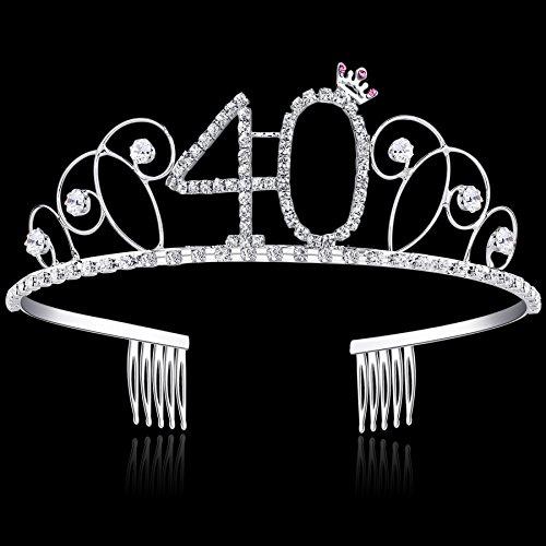 BABEYOND Kristall Geburtstag Tiara Birthday Crown Prinzessin Kronen Haar-Zusätze Silber Diamante Glücklicher 18/20/21/30/40/50/60 Geburtstag (40 Jahre alt) - 4