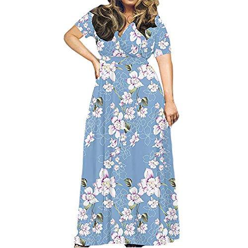 Beonzale Sommerkleid Damenmode Plus Size Print Kurzarm Lose Ebene Beiläufiges Langes Maxikleid Boho Blumen Strandkleid Mit Blumen Kleid -