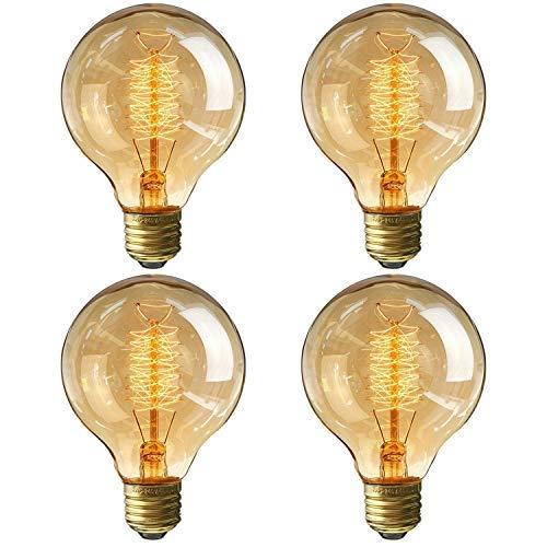 Restaurant-beleuchtung (Vintage Edison Glühbirne Glühlampe E27 40W 220V-240V Dimmbar Globe Glühlampe Ideal für Nostalgie und Retro Beleuchtung im Haus/Café/Bar/Restaurant - 4 Stück)
