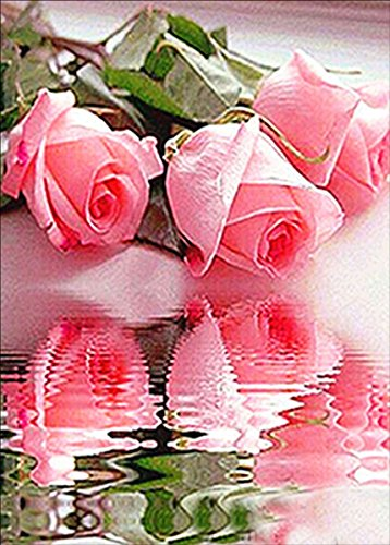 5D DIY Diamond Painting Cross Stitch, Decoration of House Living Room,Pink Rose