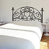 """Cabecero de planta cuadrada etiqueta de la pared flor de pared MirrorOutlet dormitorio decoración de la pared etiqueta de la pared decoración de la pared del dormitorio, vinilo, negro, 23""""hx54""""w"""
