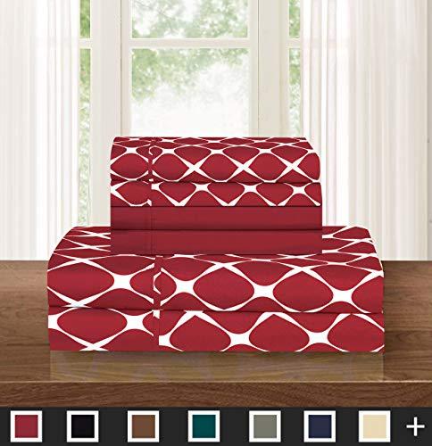 Elegant Comfort TM Luxuriöses, weiches, 4-teiliges Bettlaken Traditionell Queen burgunderfarben