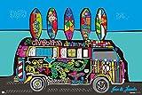 Volkswagen - Big Dream - VW Bus Klassiker Oldtimer Poster Druck - Größe 91,5x61 cm + 1 Packung tesa Powerstrips® - Inhalt 20 Stück