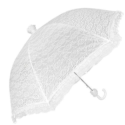 Paraguas Blanco de Novia - Paraguas de Encaje Elegante para Lluvia y Sol - Paraguas de Boda con Moños - Automático - Diametro 87 cm - Perletti