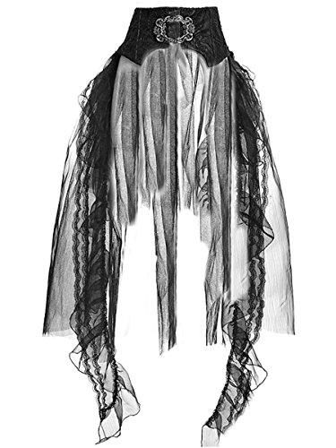 Dark Dreams Gothic Steampunk Swallow Bustle Skirt Rock Tüll Tristesse 38 40, Größe:L/XL, Farbe:schwarz